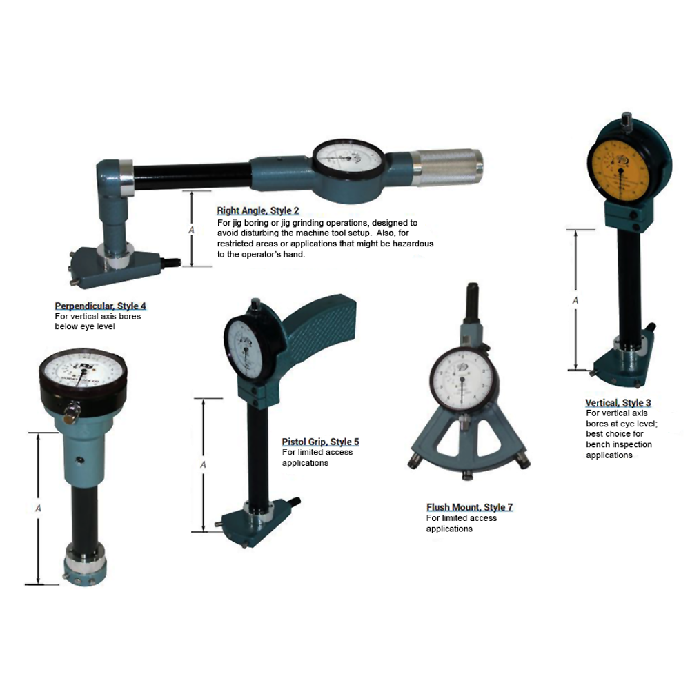 Standard Series Bore Gage Styles with Gaging Depths