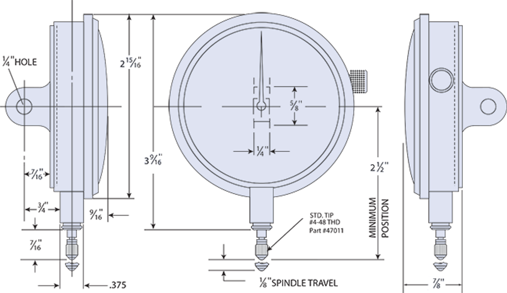 Group 3 Dial Indicator Dimensions (shown with optional Lugback)