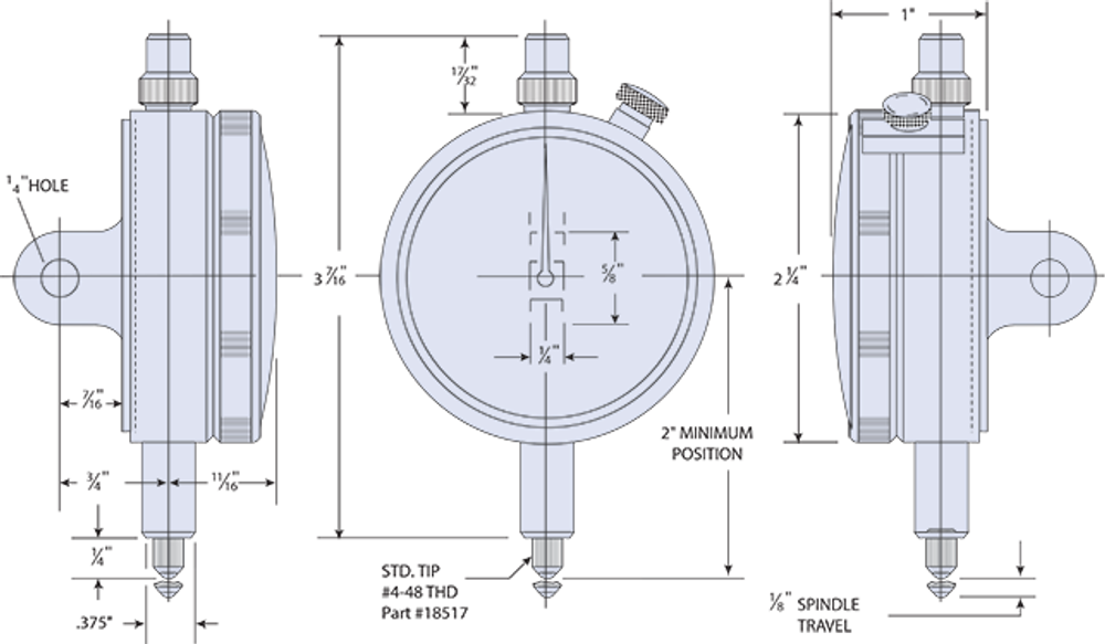 Group 2 Dial Indicator Dimensions (shown with optional Lugback)