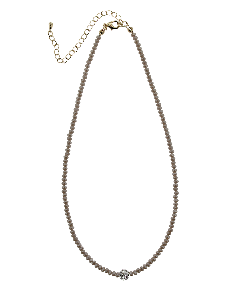 """16"""" CRYSTAL & PAVE BALL NECKLACE - TAUPE"""