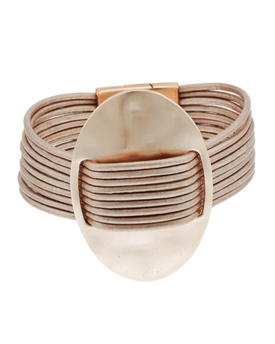 GENUINE LEATHER- OVAL METAL- MAGNETIC BRACELET - ROSE GOLD