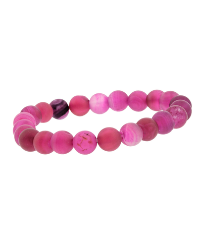 8MM FUCHSIA STONE STRETCH BRACELET