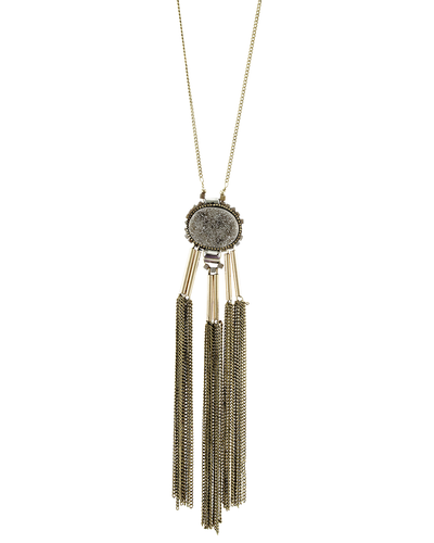 GREY DRUZY-CHAIN TASSELS NECKLACE