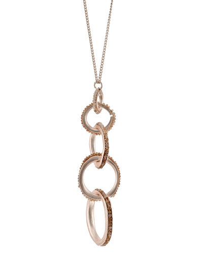 CRYSTAL BEADED LINKED CIRCLES- PENDANT NECKLACE - PEACH