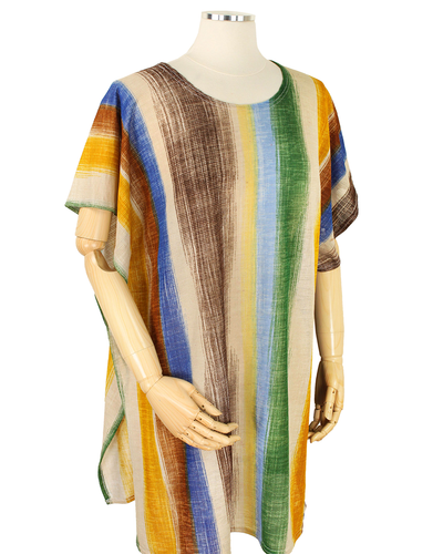 POLYESTER ABSTRACT STRIPED WEARABLE - BEIGE