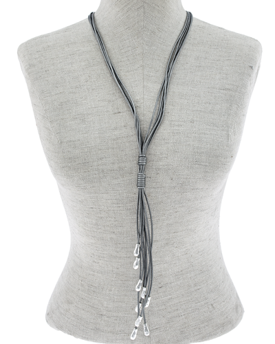 GENUINE LEATHER METAL DROPS NECKLACE - SILVER
