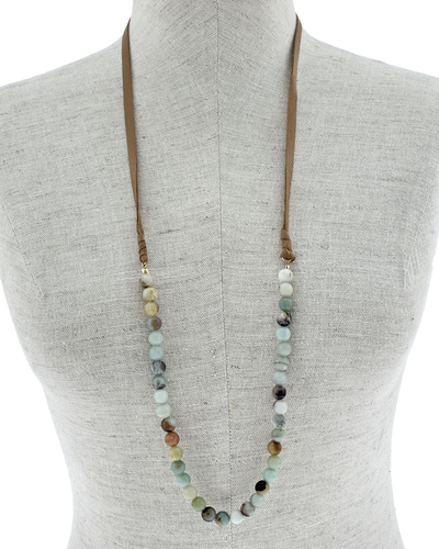 GENUINE LEATHER AMAZONITE STONE NECKLACE