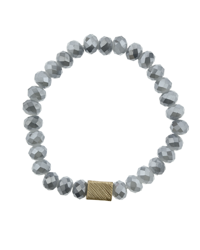 CRYSTAL BEADED & METAL SQUARE STRETCH BRACELET - GREY