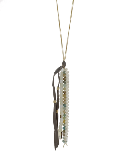 AMAZONITE PEARL CRYSTAL TASSEL NECKLACE