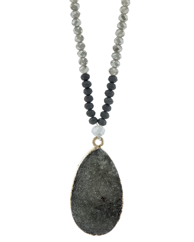 DRUZY PENDANT- CRYSTAL & MATTE BEADED NECKLACE -GREY