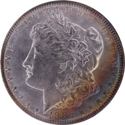 1886 Morgan Dollar MS63 - Rainbow Toned Obverse PCGS - obverse