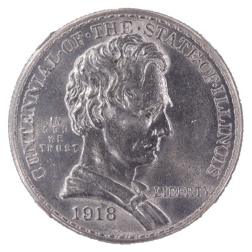 1918 Lincoln - Illinois Commemorative Half Dollar MS62 NGC - obverse