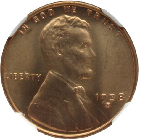 1938-S/S/S Lincoln Cent FS-502 MS66 Red NGC - obverse RPM