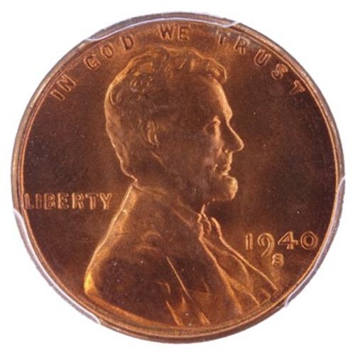 1940-S Lincoln Cent MS67 Red PCGS CAC - Obverse