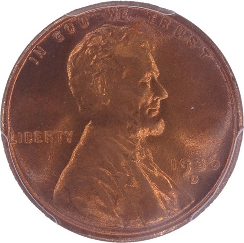 1936-D LIncoln Cent MS67+ Red CAC PCGS - obverse