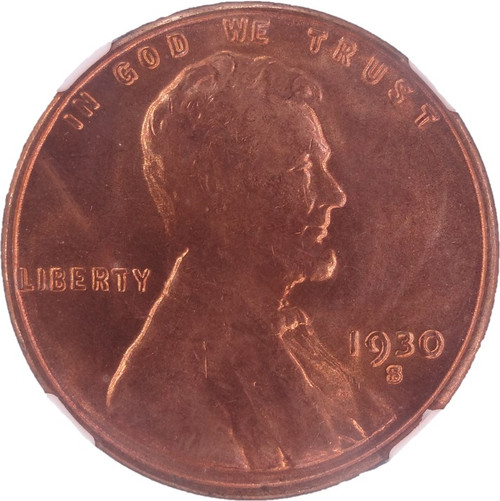 1930-S Lincoln Cent MS65 Red NGC - Obverse