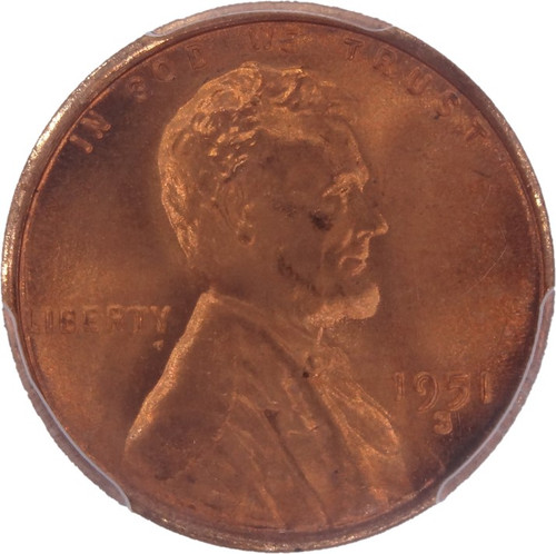 1951-S Lincoln Cent MS67+ CAC PCGS - obverse