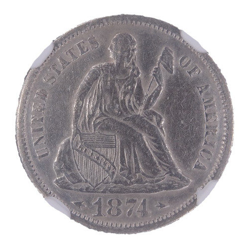 1874 Seated Liberty Dime Arrows AU Details NGC - obverse