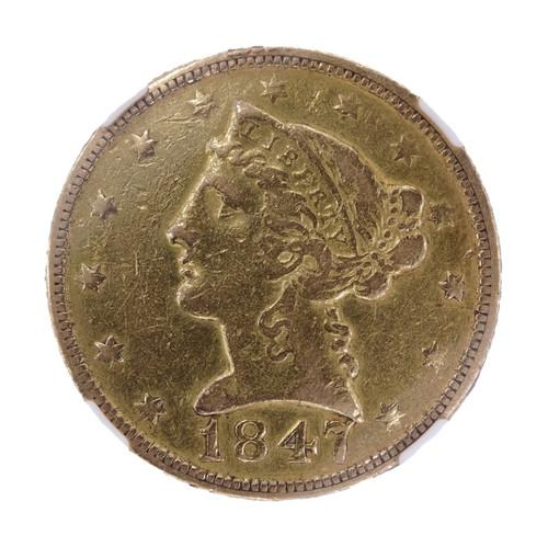 1847-C Liberty Head Gold Half Eagle XF Details - obverse