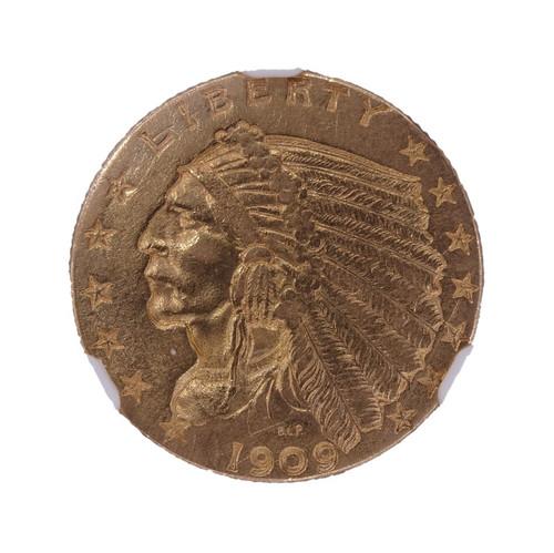 1909 Indian Head Gold Quarter Eagle AU58 NGC - Obverse