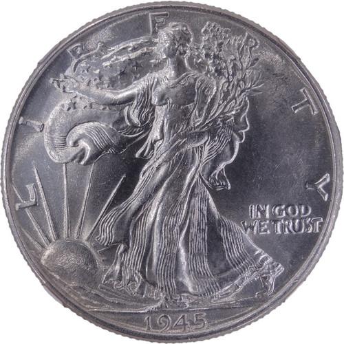 1945 Walking Liberty Half Dollar AU58 NGC - obverse