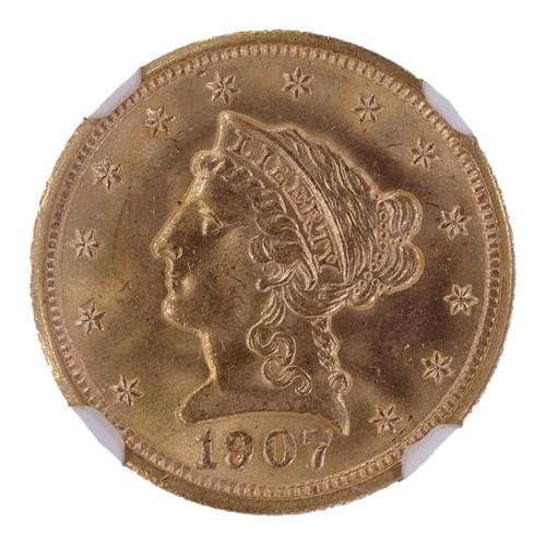 1907 Liberty Head Gold Quarter Eagle MS65 NGC - Obverse