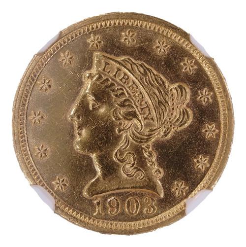 1903 Liberty Head Gold Quarter Eagle MS61 NGC - Obverse