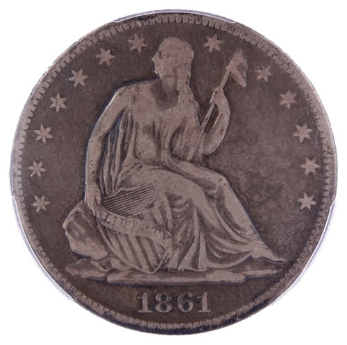 1861-O Seated Liberty Half Dollar F Detail PCGS W-03 Die Marriage Louisiana Issue - obverse