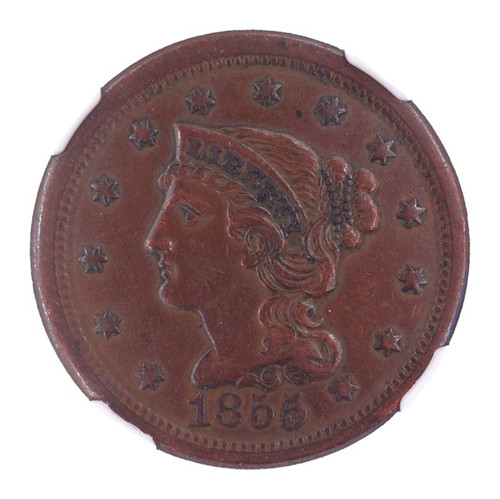 1855 Upright 55 Braided Hair Cent AU Details NGC - obverse