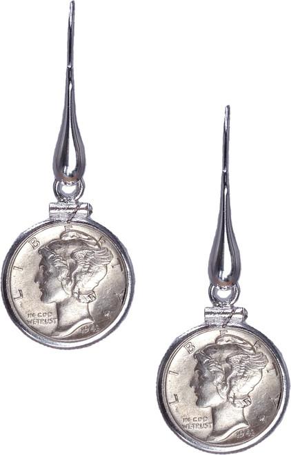 Mercury Dime Teardrop Dangle Earrings - Sterling Silver