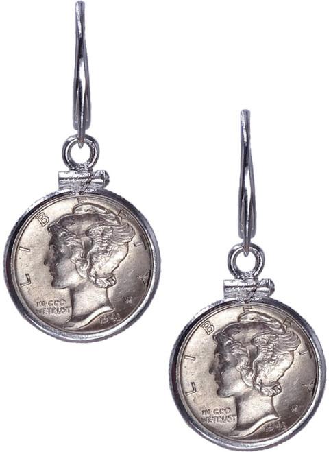 Simple Modern Mercury Dime Leverback Dangle Earrings  - Sterling Silver - Pair