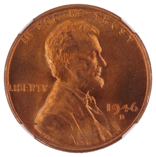 1946-D/D Lincoln Cent MS67 Red NGC Re-Punched Mint Mark VP-001 (CONECA RPM-004) - Obverse