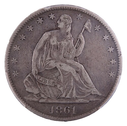 1861-O Seated Liberty Half Dollar VF Detail PCGS W-09 Die Marriage Confederate States of America (CSA) Issue - Obverse