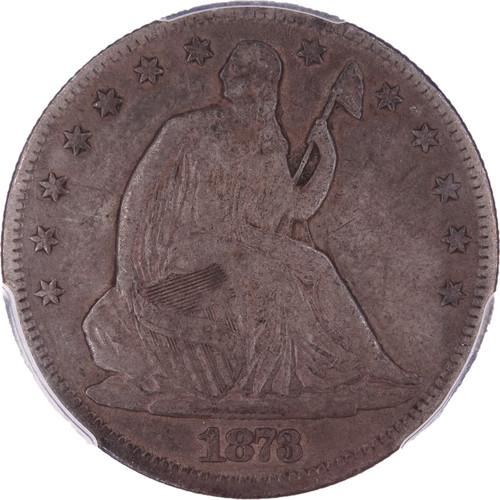 1873-CC Seated Liberty Half Dollar No Arrows VF30 PCGS - Obverse
