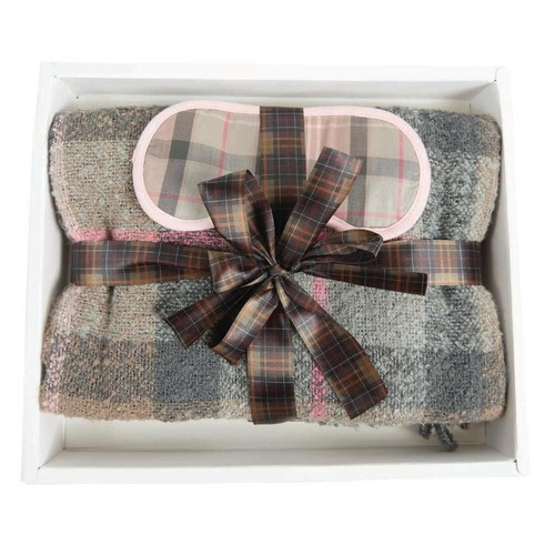 Tartan Boucle Blanket & Eye Mask