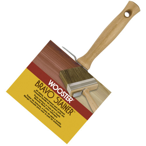 """4"""" Bravo Stainer Bristle Flat Bristle/Poly Blend Threaded Hardwood Handle With Bucket Clip White China Bristle Excellent For Oil-Based Stains Sealers And Toners (Case of 6)"""