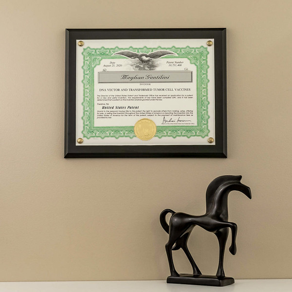 Patent Certificate Mounted on Wood
