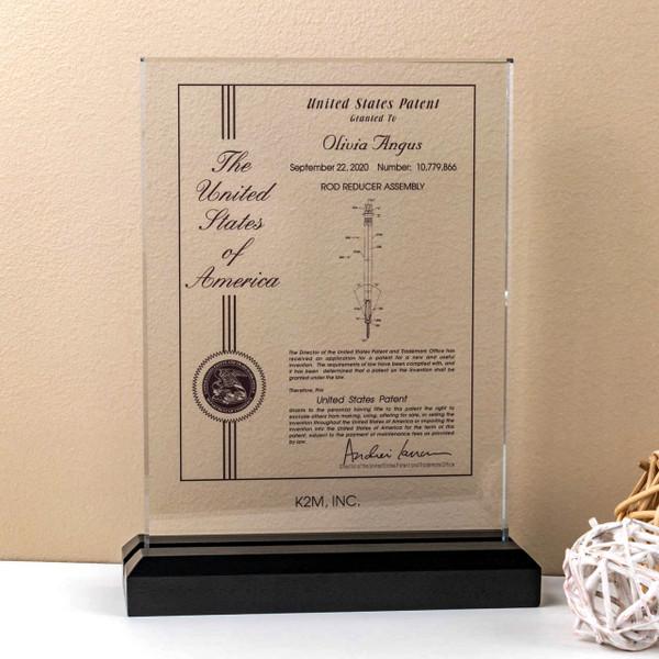 Glass Desk Award -  Patent Recognition