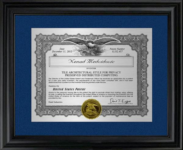 Metal Certificate Patent Frame Award