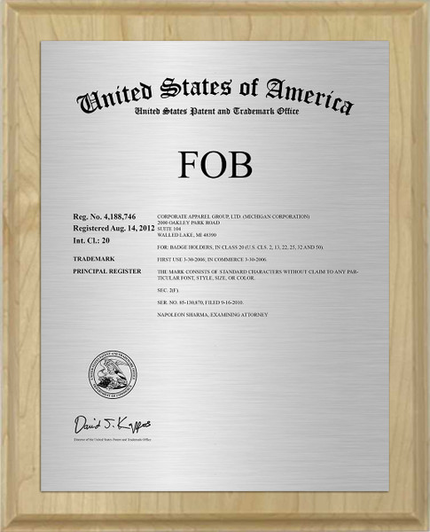 Current Cover Trademark Plaque