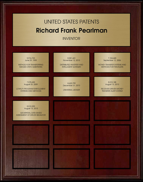 Brass and Cherry Perpetual Patent Plaque Award