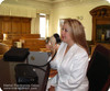Martel Stenomask in action in a court reporters hand