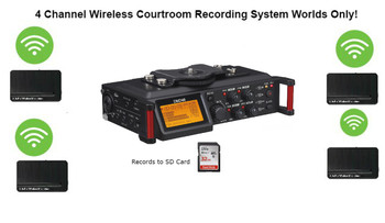 Wireless 4-Channel Conference Recording/Transcription System Court room wireless microphone equipment Exclusive