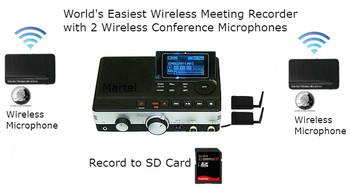 Wireless Meeting Recorder with 2 Wireless Microphones for recording conferences
