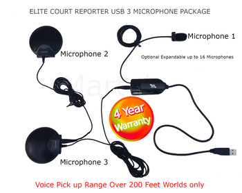 The only USB Court Reporter microphone made exclusively for Court Reporting  Over 200 Feet of pick up range