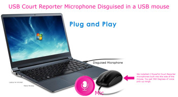 USB COURT REPORTER PC MOUSE MICROPHONE