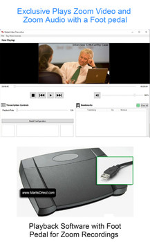 Zoom Video Transcription software with USB foot pedal