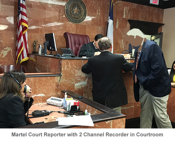 Court Reporter using the Martel Stenomask in court room