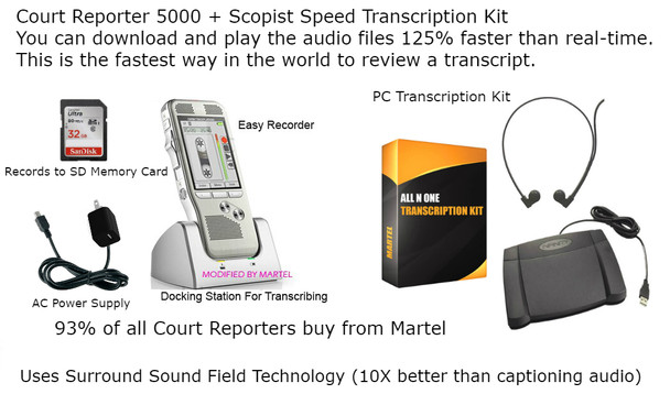 Digital Court Reporter digital recorder with audio  Scopist transcription kit