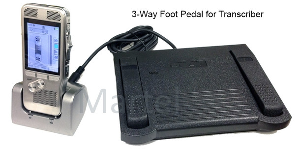 Court Reporter voice recorder with 3-way foot pedal for proof reading/scoping transcribing